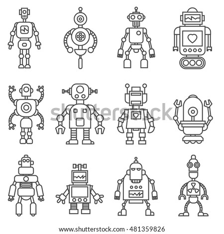 Set of cute cartoon funny retro robots in vintage hipster style. Vector illustration.