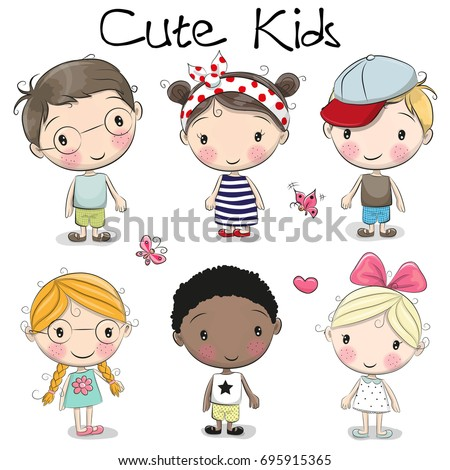 Shutterstock Set of Cute cartoon girls and boys on a white background