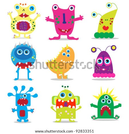 set of cute cartoon monsters. vector illustration