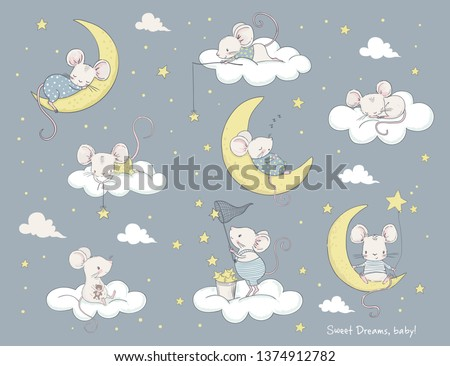 Set of cute cartoon mouses. Cartoon vector illustration. Use for print design, surface design, fashion kids wear, baby shower