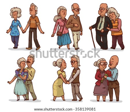 set of cute cartoon old couples