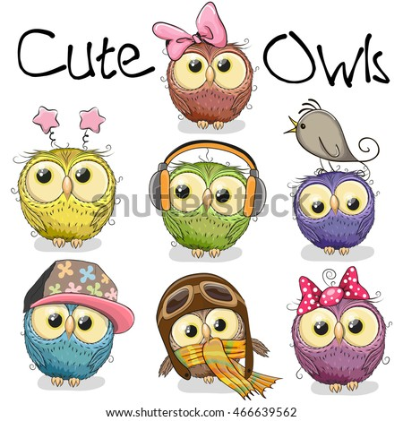 set of cute cartoon owls on a
