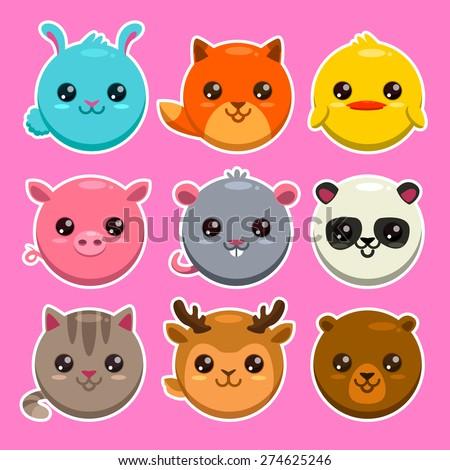Set of cute cartoon round animals, vector zoo stickers