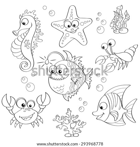 set of cute cartoon sea animals
