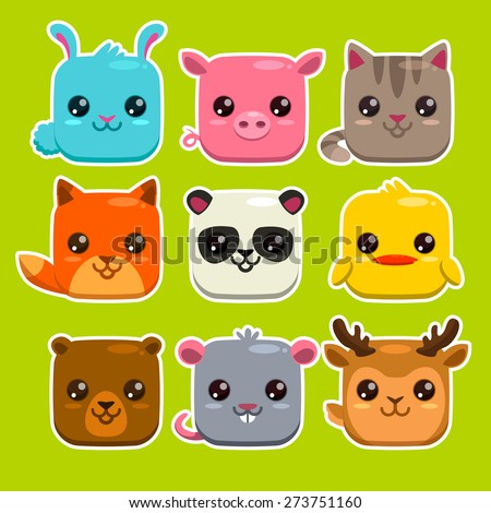 Set of cute cartoon square animals, vector zoo stickers
