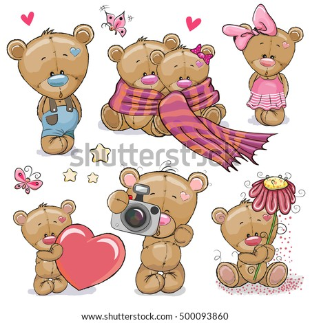 Stock Photo Set of Cute Cartoon Teddy Bear on a white background