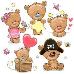 Set of Cute Cartoon Teddy Bears on a white background