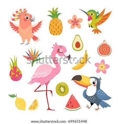 set of cute cartoon tropical