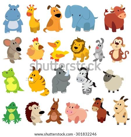 set of cute cartoon wild