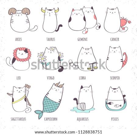 Set of cute cartoon zodiac cat. Vector illustration of twelve zodiacal symbols: Aries, Taurus, Gemini, Cancer, Leo, Virgo, Libra, Scorpio, Sagittarius, Capricorn, Aquarius, Pisces. Cat collection.