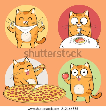 set of cute cat character