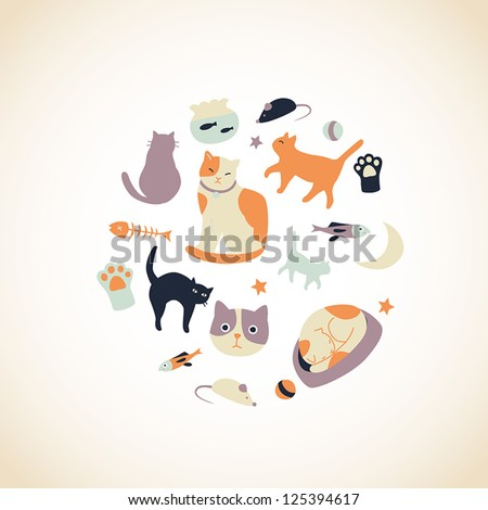 set of cute cat related icons
