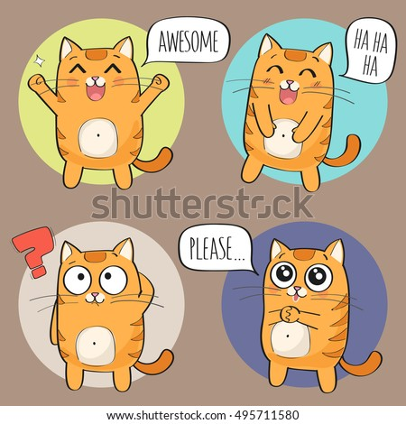 set of cute cat stickers in