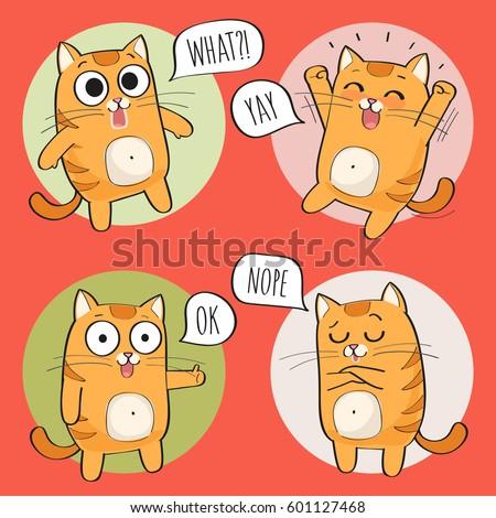 set of cute cat stickers in