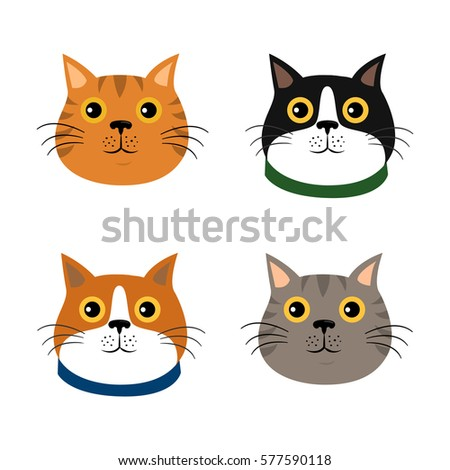 set of cute cats icons  vector