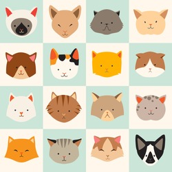 Set of cute cats icons, vector flat illustrations. Cat breeds, pattern, card, game graphics.