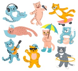 Set of cute cats with musical instruments, with milk, a cat athlete, sleeping cat on a pillow, on a skate board. Kittens in diferent style. Great for fabric, textile Vector Illustration