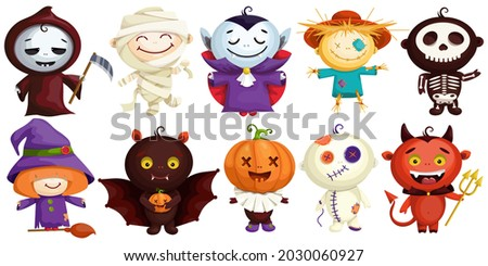 Set of cute characters in Halloween costumes. Cartoon Count Dracula, Witch, Pumpkin, Voodoo Doll, Egyptian Mummy, Bat Mouse, Dead Man, Vkelet, Garden Scarecrow, Scarecrow. Funny Costumed Men for Day o