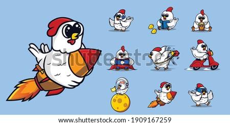 set of cute chicken mascot logo design. chicken astronaut, chicken ride rocket, chicken delivery, super chicken,chicks.kawaii character for sticker, t-shirt, mascot logo. Flat Cartoon Style.