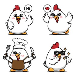 set of cute chicken vector designs