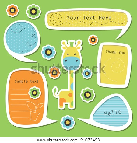 set of cute childlike text frames. vector illustration