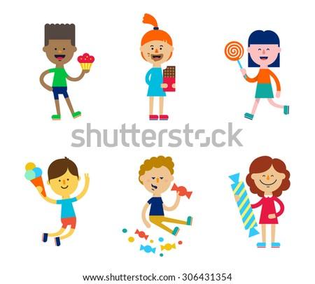 set of cute children eating