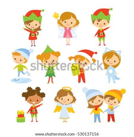 set of cute children in