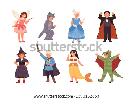 Set of cute children wearing costumes of fairytale characters - prince, dragon, pixie, witch, vampire, mermaid, wolf, cinderella. Kids dressed for carnival or party. Flat cartoon vector illustration.