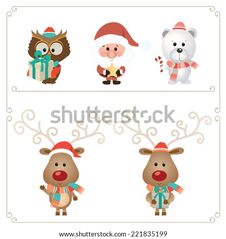 Set of cute Christmas character Vector illustration