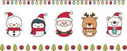 Set of cute Christmas characters and decorative border elements on white background. Santa Claus, reindeer,  snowman, penguin, and polar bear. Isolated vector illustrations.