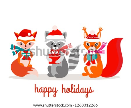 Set of cute christmas design elements with woodland animals #1268312266