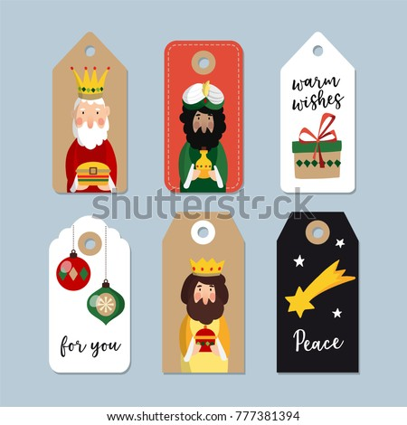 Set of cute Christmas gift tags. Three magi. Biblical kings Caspar, Melchior and Balthazar. Vector illustration backgrounds, isolated vector objects for Spanish Dia del Reyes holiday.