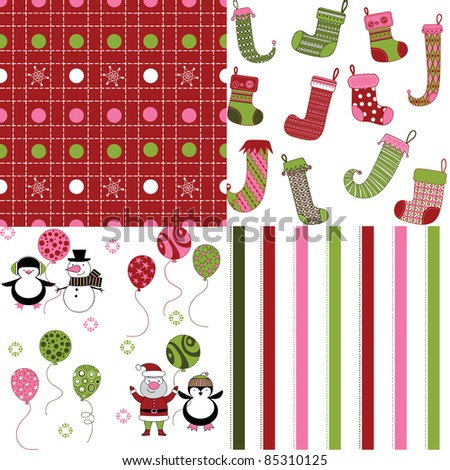 set of cute Christmas seamless patterns