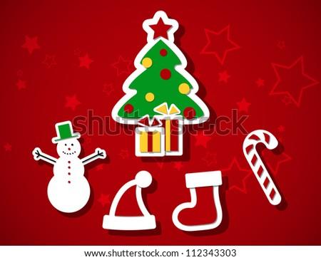 Set of cute Christmas symbols, EPS10 vector - stock vector