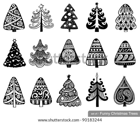 Set of Cute Christmas Trees. 15 designs in one file. To see similar sets visit my gallery