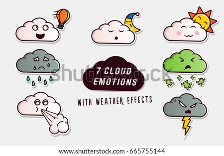 set of cute clouds with