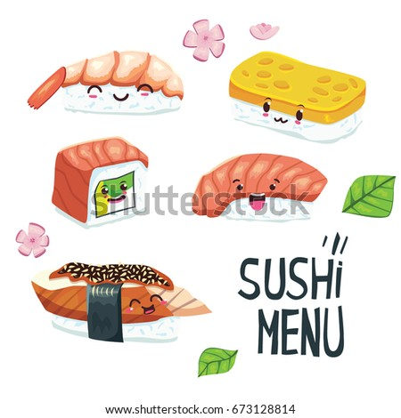 Set of cute color cartoon style illustration of Japanese nigiri sushi rolls with different emotions. Happy, excited characters