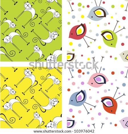 Set of cute colorful childish seamless patterns
