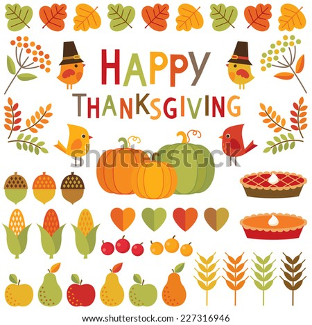 Set of cute colorful design elements for autumn fall and Thanksgiving Happy Thanksgiving typographic message included