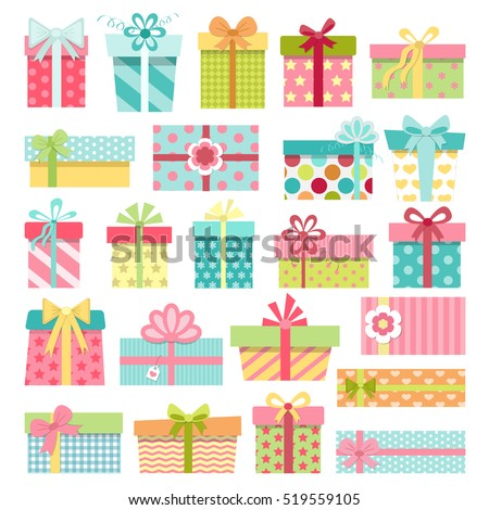 Set of cute colorful gift boxes with bows and ribbons. Wrapped presents. Christmas, New Year, Birthday gifts on white background. Vector illustration