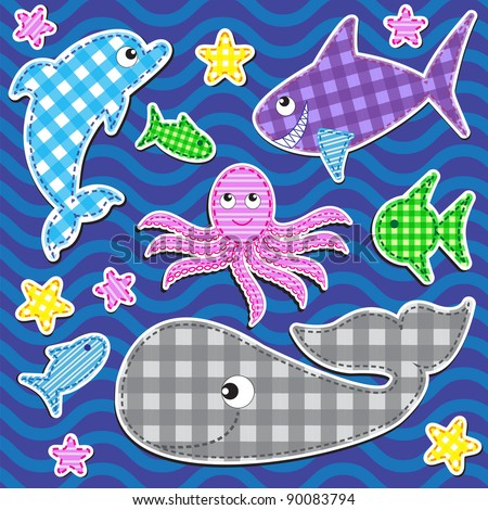 Set of cute colorful marine animals.Vector stickers.
