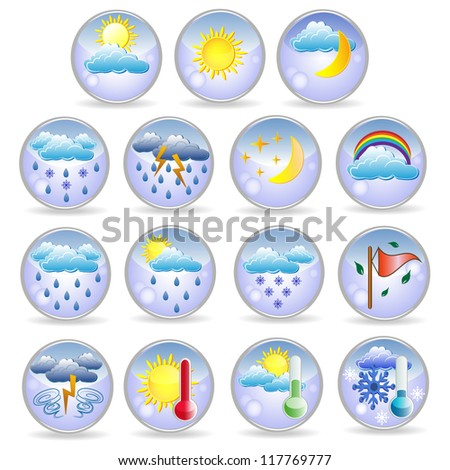 Set of cute colorful weather icons