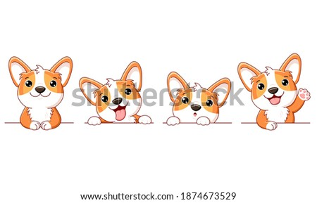 Set of cute corgi dog. Set of borders with kawaii welsh corgi puppy. Collection of dogs with different emotion - funny, happy, surprised, sticking out tongue. Vector illustration EPS8 Stockfoto ©