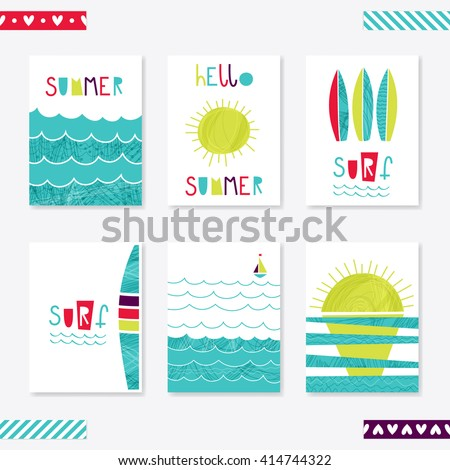 set of cute creative card