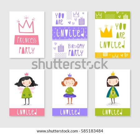 Hand drawn fairy vector pattern download free vector art stock set of cute creative card templates with princess theme design hand drawn card for birthday stopboris Choice Image