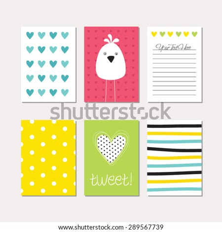 set of cute creative cards with