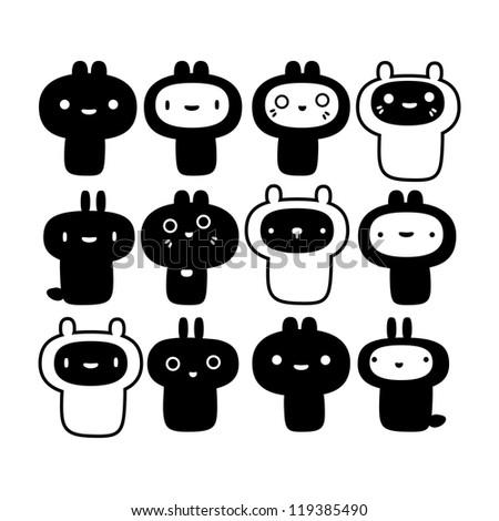 Set of cute creatures (vector version)