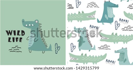 set of cute crocodile print and seamless pattern with crocodiles.vector illustration