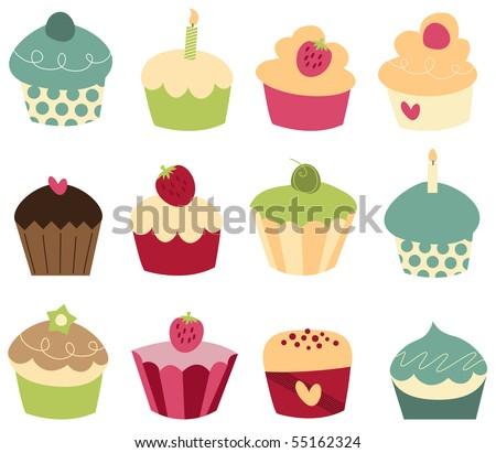Set of 12 cute cupcakes.