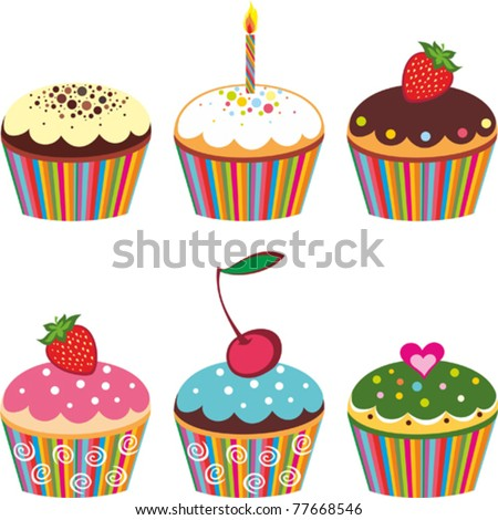 Set of 6 cute cupcakes isolated on White background. Vector illustration
